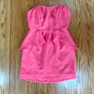 Strapless coral mini dress
